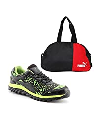 Elligator Black & Green Stylish Sport Shoes With Puma Duffle Bag For Men's