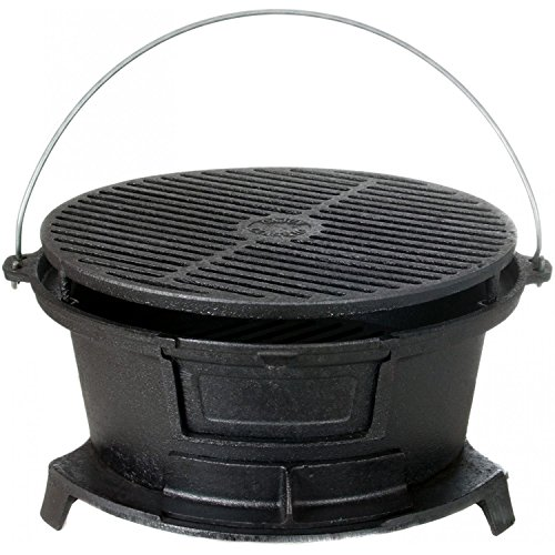 Cajun-Cookware-Round-Seasoned-Cast-Iron-Charcoal-Hibachi-Grill-Gl10447