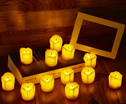 [Pack of 12]Flameless Melting Wax Tealight Candles,Unscented light with Flickering Flame - Battery Powered- Perfect for Wedding/Party Decoration(Yellow Body)