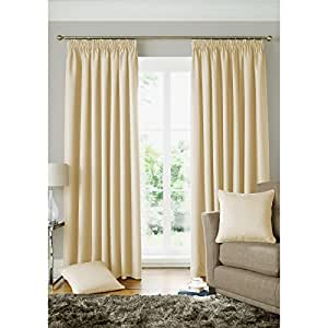 Square Geometric Curtains Woven Cream Fully Lined Pencil Pleat Curtain Pair