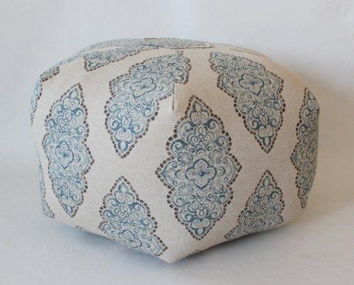 "24"" Pouf Ottoman Floor Pillow Monroe Cadet/Oatmeal"