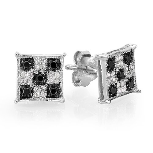 0.25 Carat (ctw) Sterling Silver Black & White Round Cut Diamond Square Shaped Micro Pave Stud Earrings 1/4 CT