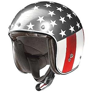 X-Lite 201Flagstaff Motorcycle Composite Fibre N-Com Jet Helmet White Chrome Red)