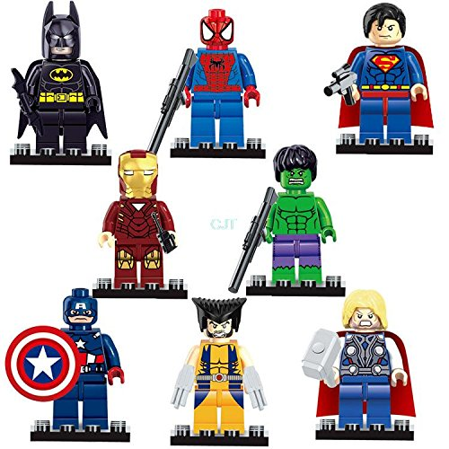 Sweet Super Heroes Series 8 Pc Set Minifigures Building Toys New with weapons, 100% Compatible (Super Heroes Avengers)