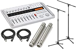 Zoom R16 Recorder Interface Controller With Samson CO2 Pencil Condenser Microphone Pair, Boom Mic Stands & XLR Cables