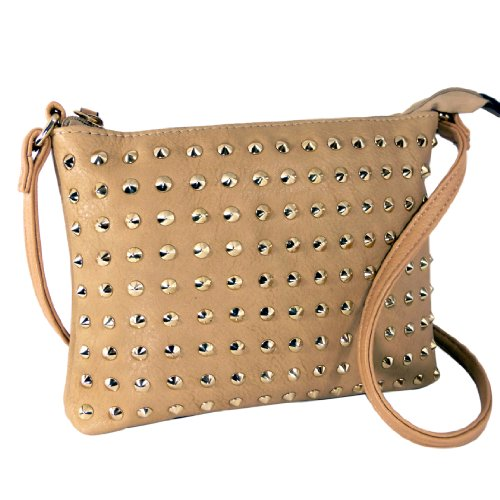CALEA Fun Gothic Studded Mini Tote Satchel Single Shoulder Strap Crossbody Daybag Purse Handbag Bag