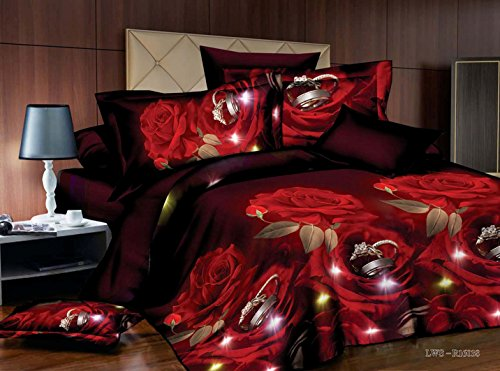 3 Piece Set Red Rose and Rings Soft 3d Comforter Set (02) (Queen)