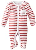 Disney Baby-Girls Newborn Minnie Mouse My First Christmas Sleep And Play Romper, White/Pink/Red, 0-3 Months