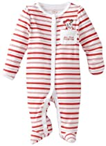 Disney Baby-Girls Newborn Minnie Mouse My First Christmas Sleep And Play Romper, White/Pink/Red, 3-6 Months