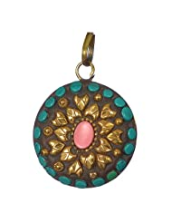 Gorgeous Turquoise Green With Golden Round Brass Pendant For Women
