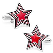 Red and Black Prismatic Star Cufflinks-CLI-OB-ST1-A