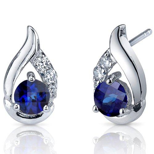 Revoni- Radiant Teardrop 1.50 Carats Blue Sapphire Round Cut CZ Earrings in Sterling Silver