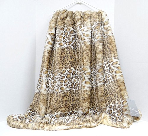 Nicole Miller Snow Leopard Faux Fur Throw Cheetah Plush Luxury Blanket Taupe Beige White