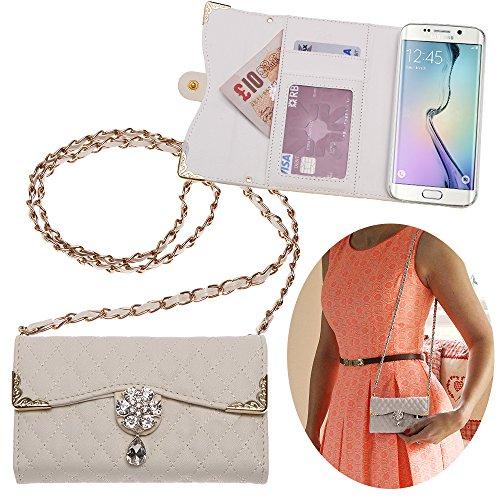 Xtra-Funky Esclusivo Samsung Galaxy S6 Edge Lusso Faux Custodia in pelle trapuntata borsa della borsa di stile con la cinghia da trasporto e splendidamente decorate fiore di cristallo - Bianco (include un mini stilo e schermo LCD PELLICOLA)