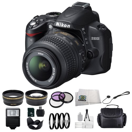 Nikon D3000 Slr Digital Camera With 3-Inch Lcd (Includes Manufacturer'S Supplied Accessories) With 18-55Mm Vr Lens + Huge Accessories Package Including .43X Wide Angle Macro Lens + 2.2X Telephoto + 3 Piece Filter Kit + 4 Piece Close-Up Lens Set + Tulip Le