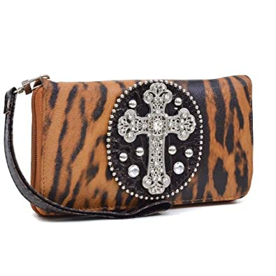 Brown Animal Print Rhinestone Cross Accent Checkbook Wallet