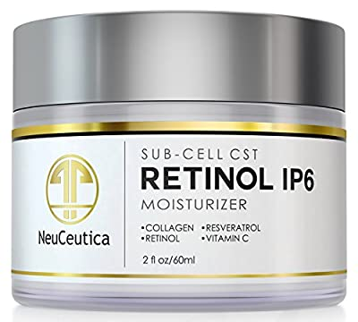 NeuCeutica Retinol Moisturizer Cream Anti Wrinkle for Neck, Face: With Collagen, Vitamin C, Resveratrol - 4 Ounce