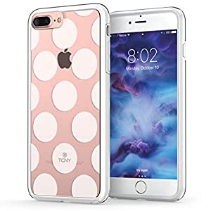 iPhone 7 Plus Dots Case, True Color Large Polka Dots Printed on Clear Transparent Hybrid Cover Hard + Soft Slim Thin Durable Protective Shockproof TPU Bumper Cover - White