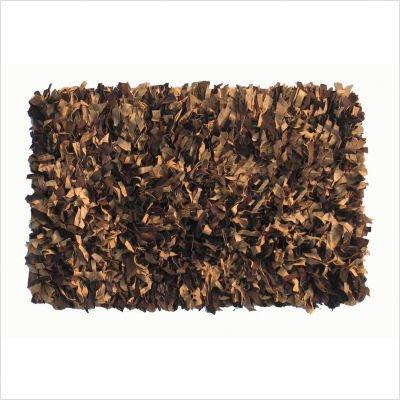 "Thalassa Premium Leather Earth Shag Rectangular Rug Size: 3'6"" x 5'6"""