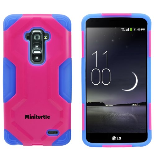 Miniturtle, 2 In 1 Hybrid Curved Shell Casing Hard Phone Case Cover, Stylus Pen, And Clear Lcd Screen Protector Film For Android Smartphone Lg G Flex /T Mobile D959, /At&T D950, /Sprint Ls995 (Pink / Blue)