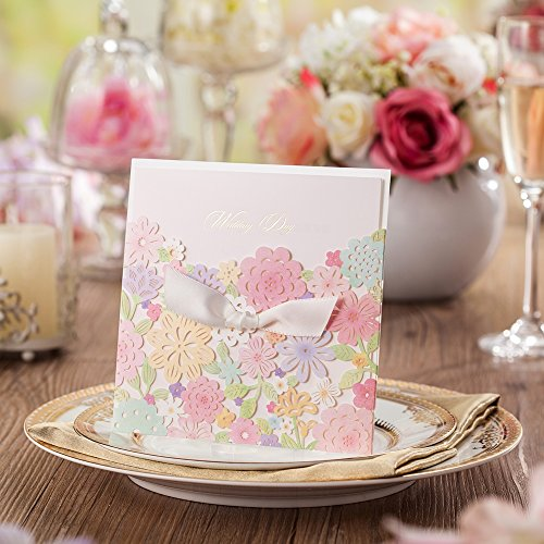 Wishmade 12X Laser Cut Wedding Invitations Invites With Handmade Bowknot Colorful Flower Card Stock For Engagement Party Bridal Shower CW5031
