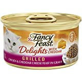 Fancy Feast Wet Cat Food, Delights with Cheddar, Grilled Chicken & Cheddar Cheese Feast in Gravy, 3-Ounce Can, Pack of 24