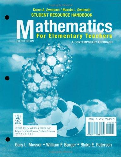 Mathematics for Elementary Teachers, Student Resource Handbook: A Contemporary Approach