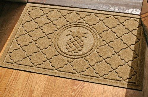 Bungalow Flooring WaterGuard Signature Series 2 by 3-Feet Door Mat, Bombay Pineapple Design, Gold