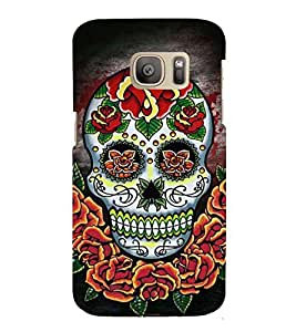 Printvisa Premium Back Cover Colourfull Floral Skeleton Design For Samsung Galaxy S7::Samsung Galaxy S7 Duos with dual-SIM card slots
