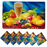 Positive Feeling Cool Relaxing 3D Printed Holographic Fruits Juice Design Placemats For Table 6 Mats + 6 Coasters...