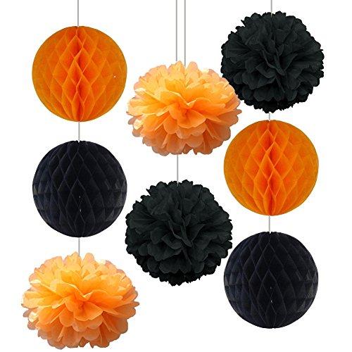 SUNBEAUTY Pack of 8 25cm/10inch Halloween Decoration Orange Black Honeycomb Balls Tissue Paper Pom Poms Halloween Accessory Party Decoration (Black (Black And Orange Party Decorations)