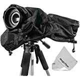 Professional Rain Cover Camera Protector for Large DSLR Cameras (CANON REBEL EOS T5i T4i T3i T3 T2i T1i SL1 XT XTi 70D 60D 7D 6D 5D Mark III, NIKON D7100 D7000 D5200 D5100 D5000 D3200 D3100 D3000 D90 D80) + MagicFiber Microfiber Lens Cleaning Cloth