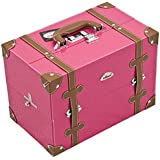 Sunrise C3019 2-Tier Accordion Trays Makeup Case With Shoulder Strap And Adjustable Dividers, 14-Inch, Hot Pink...