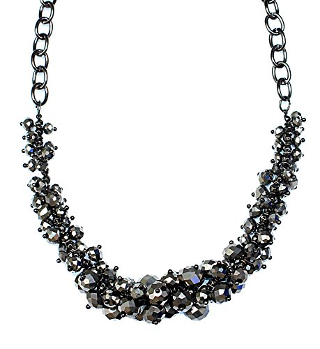 """C.A.K.E By Ali Khan Necklace, 18"""" Hematite-Tone Silver-Gray Mirror Bead Cluster Necklace"""
