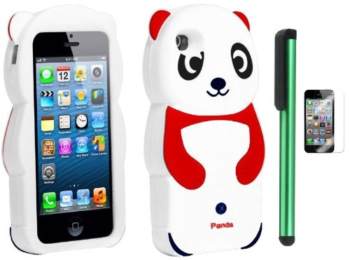 $$  Red White Smile Panda Silicone Jelly Skin Premium Design Protector Soft Cover Case Compatible for Apple Iphone 5 (AT&T, VERIZON, SPRINT) + Screen Protector Film + Combination 1 of New Metal Stylus Touch Screen Pen (4