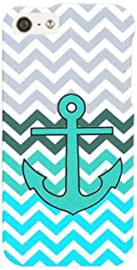 Cell Armor Snap-On Case for iPhone 5 - Retail Packaging - Green Anchor on Blue/Green Chevron