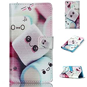 P8 Case,huawei P8 Wallet Case, Luxury PU Leather Wallet Flip Case, [Kickstand Feature ] [Card Slots] [Magnetic Closure] Case Cover and a Anti-dust Plug for Huawei P8 (Cartoon)
