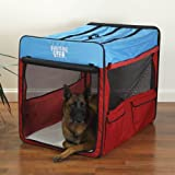 Guardian Gear Collapsible Dog Crate, X-Large, Red/Blue