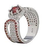 EOZY Anillos Para Mujer Con Diamantes Imitaciones Rojo Para Boda Novia (Talla 14.5/Diámetro 17.35mm)