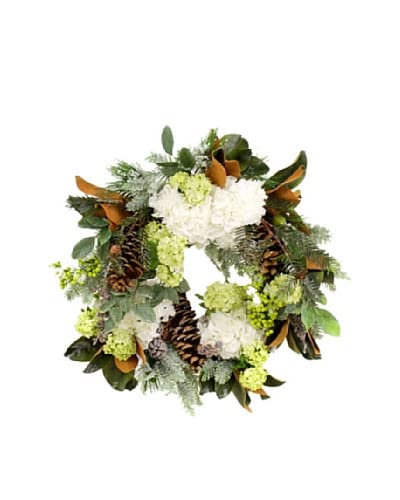Winward 28 Hand-Crafted Gatsby Ice Wreath, White/Green