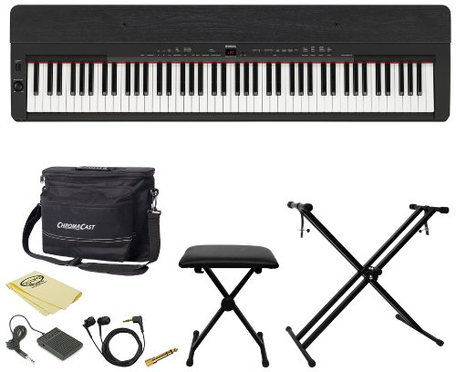 Yamaha Ko-P155B-Kit-1 P155B Contemporary Digital Piano With Earbuds, Pedal, Polish Cloth, Chromacast Bench, Stand, And Musicians Gear Bag