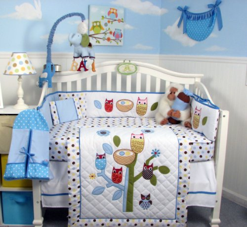 SoHo Blue Owl Tree Baby Crib Nursery Bedding Set 13 pcs included Diaper Bag with Changing Pad and Bottle Case