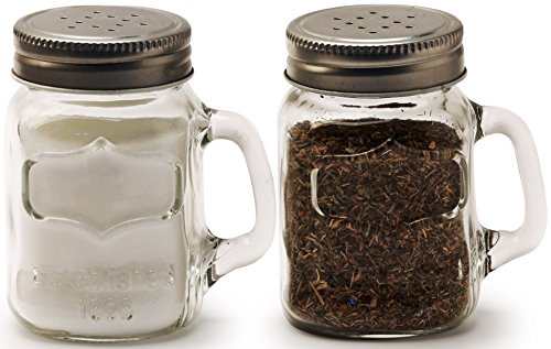 Circleware Mason Yorkshire Jar Mug Salt and Pepper Shakers with Glass Handles and Metal Lids, 5 Ounce, Set of 2 in Gift Box, Limited Edition Glassware Serveware (Jar Salt compare prices)