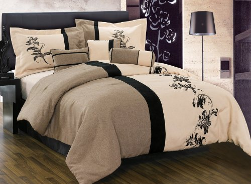 "8 Pieces Luxury Brown, Cream, and Black with Floral Linen Comforter (92""x96"" in Inch) Set / Bed-in-a-bag Queen Size Bedding"