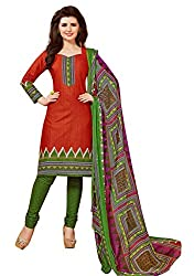 CHINTAN TEXTILES Ethnicwear Women's Dress Material Red 1003