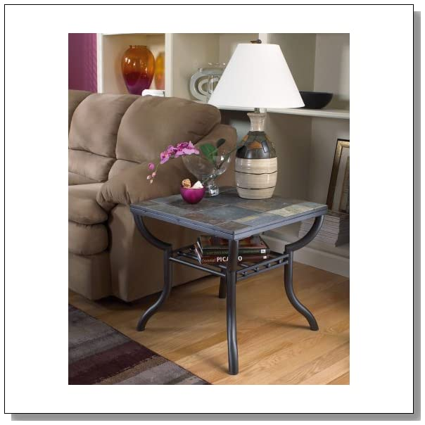 Signature Design by Ashley Contemporary Slated Square Living Room End Table