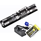 Rechargeable Bundle: 2015 Version 1000 Lumens Nitecore P12 Compact Tactical LED Flashlight, Genuine Nitecore 18650, Charger and Bright Lumentac Keychain Light