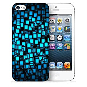 Snoogg Blue Blocks Design Printed Protective Phone Back Case Cover For Apple Iphone 5 / 5S