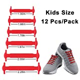 Homar Reflective No Tie Kids Shoe Laces - Best in Alternative Shoelaces - Safty Dirtproof Waterproof Rubber Shoelaces Perfect for Sneaker Boots Oxford Running Shoes - Red