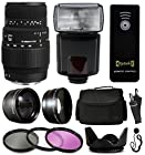Sigma 70-300mm f/4-5.6 DG Autofocus Lens for Nikon 5A9306 with Amateur Accessories Package includes 2.2x Telephoto Adapter + 0.43x Wide Angle Fisheye Adapter + Flash + Remote + Large Padded Case + 3 Piece Filter Kit + Tulip Lens Hood + Cleaning Kit + $50 Gift Card for Prints for Nikon DF D7200 D7100 D7000 D5500 D5300 D5200 D5100 D5000 D3300 D3200 D3100 D3000 D300S D90 D60 DSLR SLR Digital Camera